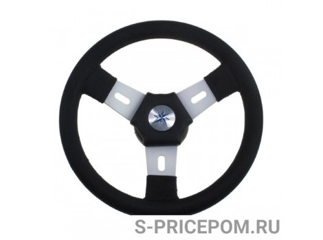 Рулевое колесо ELBA обод черный, спицы серебрянные д.300 мм