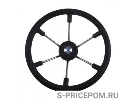 Рулевое колесо LEADER TANEGUM черный обод серебряные спицы д. 400 мм