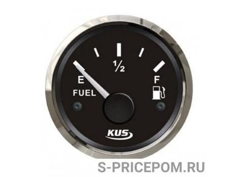 Указатель уровня топлива 0-190 Ом (ЕВРО), черный циферблат, нержавеющий ободок, д. 52 мм