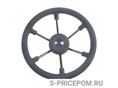 Рулевое колесо LEADER TANEGUM серый обод серебряные спицы д. 330 мм