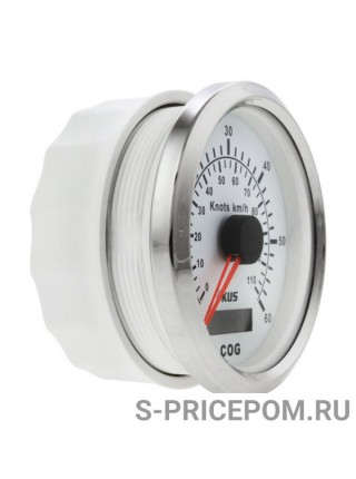 GPS-спидометр аналоговый 0-60 узлов, белый циферблат, нержавеющий ободок, выносная антенна, д. 85 мм