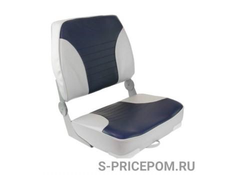 Кресло складное мягкое ECONOMY с высокой спинкой двуцветное, серый/синий