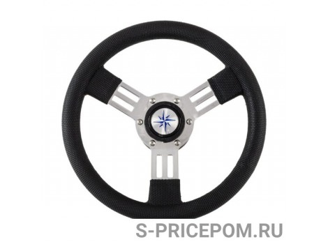 Рулевое колесо DELFINO обод черный,спицы серебряные д. 310 мм