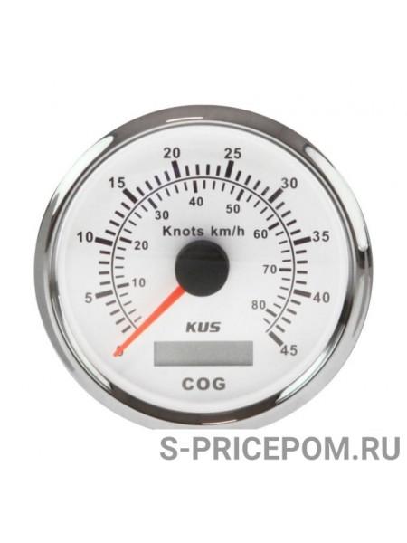 GPS-спидометр аналоговый 0-45 узлов, белый циферблат, нержавеющий ободок, выносная антенна, д. 85 мм