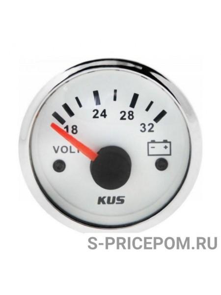 Вольтметр аналоговый 18-32 В, белый циферблат, нержавеющий ободок, д. 52 мм