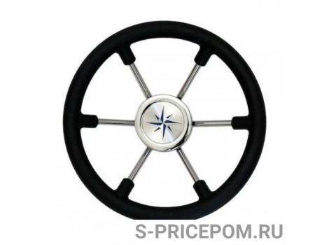 Рулевое колесо LEADER PLAST черный обод серебряные спицы д. 330 мм