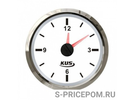 Часы кварцевые, аналоговый белый циферблат, нержавеющий ободок, д. 52 мм