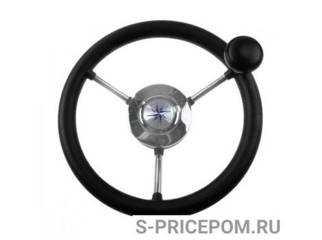Рулевое колесо LIPARI обод черный, спицы серебряные д. 280 мм со спинером