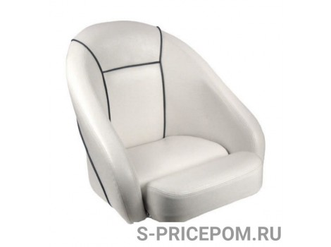 Кресло ROMEO мягкое, подставка, обивка белый винил, синий шов