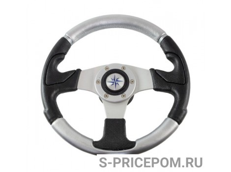 Рулевое колесо NISIDA обод черный-серебристый, спицы серебряные д. 320 мм
