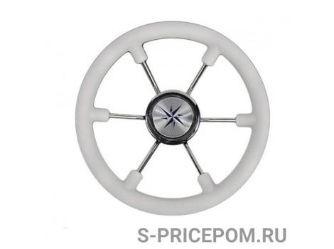Рулевое колесо LEADER PLAST белый обод серебряные спицы д. 360 мм