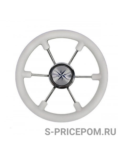 Рулевое колесо LEADER PLAST белый обод серебряные спицы д. 330 мм