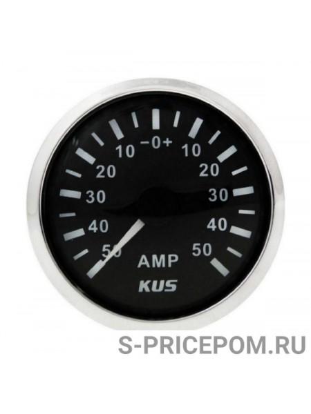 Амперметр аналоговый -/+50 А, черный циферблат, нержавеющий ободок, д. 52 мм