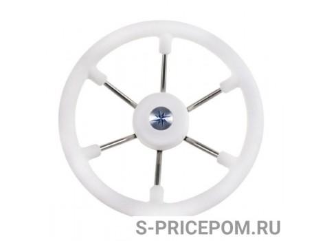 Рулевое колесо LEADER TANEGUM белый обод серебряные спицы д. 330 мм