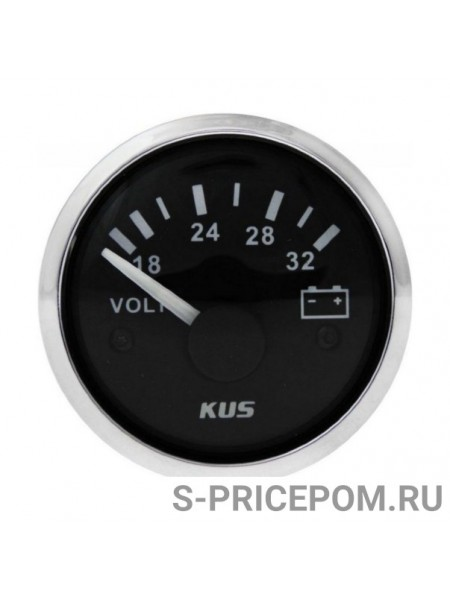 Вольтметр аналоговый 18-32 В, черный циферблат, нержавеющий ободок, д. 52 мм
