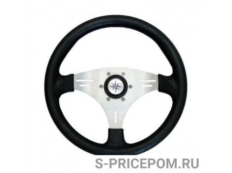 Рулевое колесо MANTA обод черный, спицы серебряные д. 355 мм