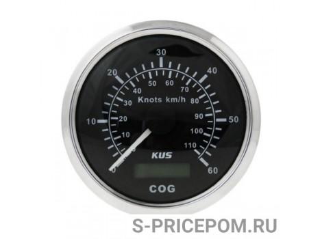GPS-спидометр аналоговый 0-60 узлов, черный циферблат, нержавеющий ободок, выносная антенна, д. 85 мм