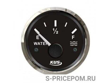 Указатель уровня пресной воды 0-190 Ом (ЕВРО), черный циферблат, нержавеющий ободок, д. 52 мм