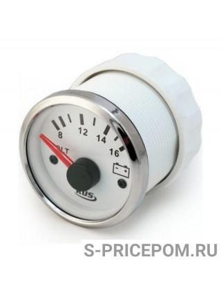 Вольтметр аналоговый 8-16 В, белый циферблат, нержавеющий ободок, д. 52 мм