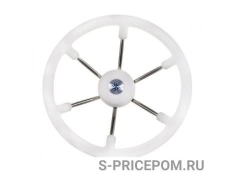 Рулевое колесо LEADER TANEGUM белый обод серебряные спицы д. 360 мм