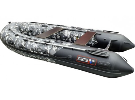 Надувная лодка Хантер 350PRO СЕРЫЙ КМФ