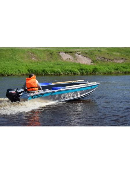 Алюминиевая лодка NewStyle-410 румпельное управление